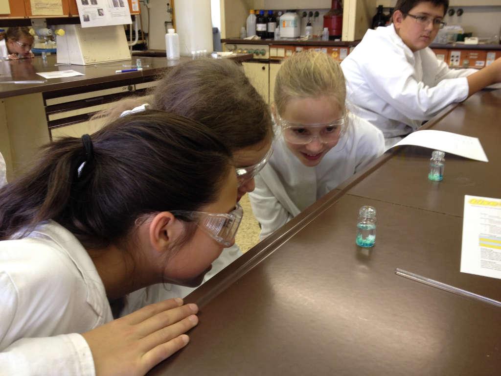 SchülerInnen beobachten ein Expertiment auf einer Exkursion zum Liselab (Foto: Frau Hartmann)