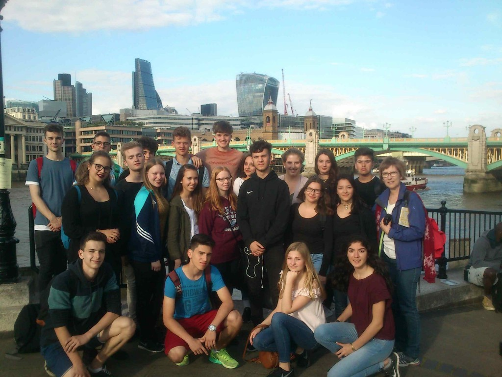 Thames by day, group photograph right before Shakespeare play began...