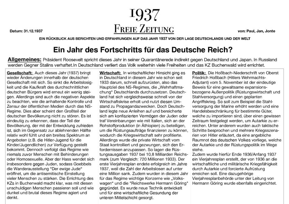 1937 Jahreschronik - Paul - Jan Sählbrandt - Jonte_Seite_1