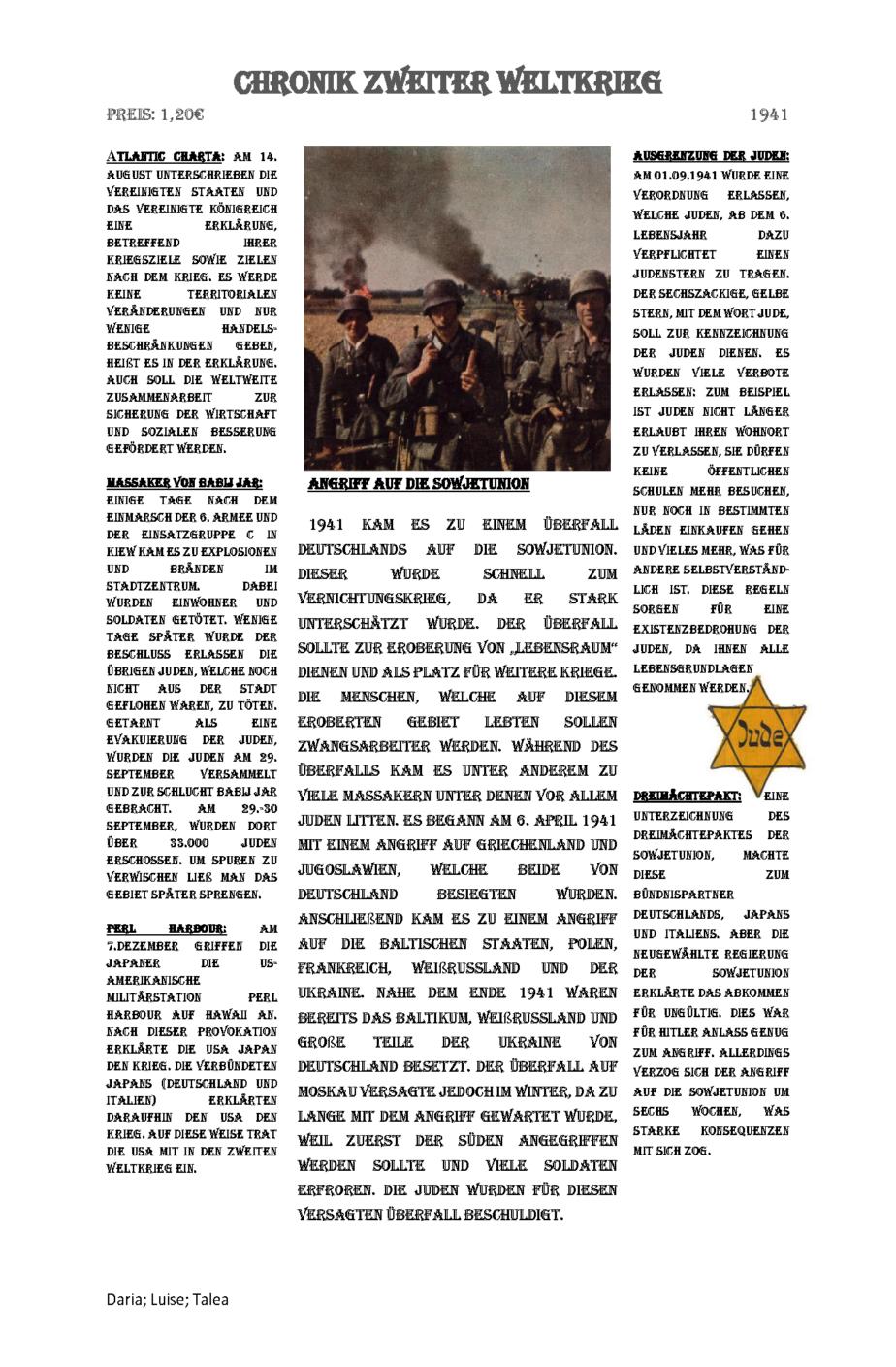 1941 Jahreschronik - Daria - Luise - Talea_Seite_1