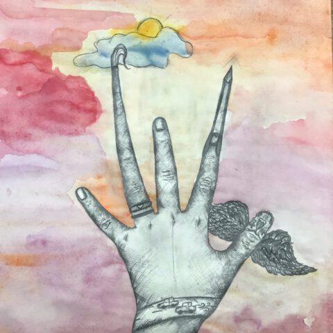 Du hast es in der Hand - Farbiges Selbstportrait mit Handzeichnung 1