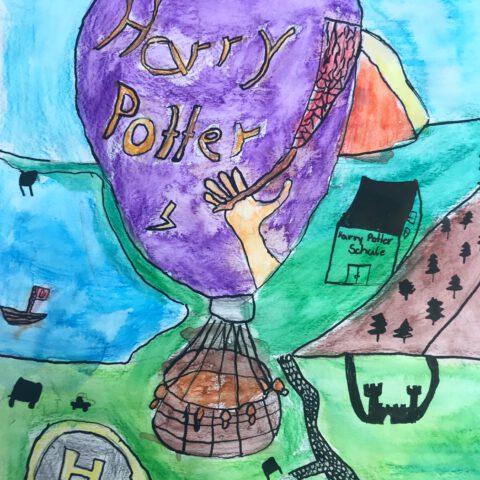 Heißluftballon - Farbenfroher Phantasieflug über einer Landschaft - Federzeichnung aquarelliert 5