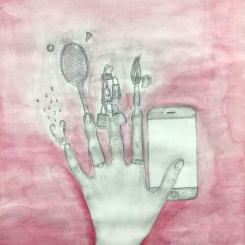 Du hast es in der Hand - Farbiges Selbstportrait mit Handzeichnung 2