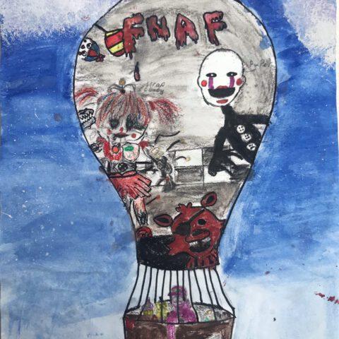 Heißluftballon - Farbenfroher Phantasieflug über einer Landschaft - Federzeichnung aquarelliert 4