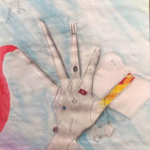 Du hast es in der Hand - Farbiges Selbstportrait mit Handzeichnung 3