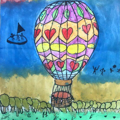 Heißluftballon - Farbenfroher Phantasieflug über einer Landschaft - Federzeichnung aquarelliert 3