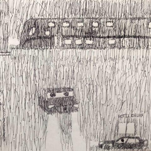 Die Striche kommen - stürmische Straßenszene in Schraffurtechnik 4