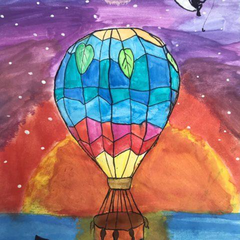 Heißluftballon - Farbenfroher Phantasieflug über einer Landschaft - Federzeichnung aquarelliert 2