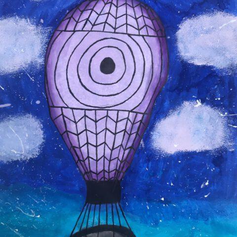 Heißluftballon - Farbenfroher Phantasieflug über einer Landschaft - Federzeichnung aquarelliert 1